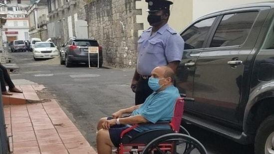 Fugitive businessman Mehul Choksi arrives at a Dominican court on Wednesday. (Antigua Newsroom )