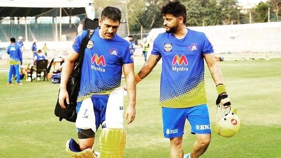 CSK skipper MS Dhoni (L) with batsman Suresh Raina (R)(Suresh Raina / Twitter)