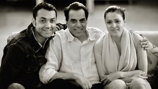 Bobby Deol with his father, actor Dharmendra, and wife Tanya Deol.