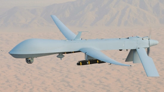 Predator Drone with HellFire missile over Afghanistan theatre