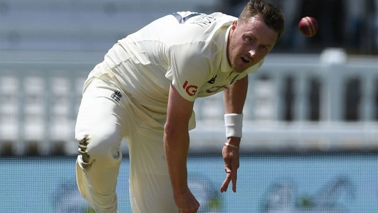 Ollie Robinson bowls on Day 1 of the first England-New Zealand Test. (Getty Images)