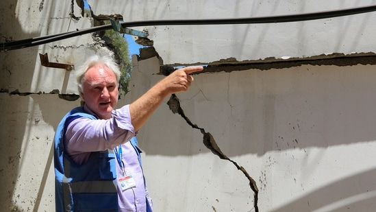 Matthias Schmale gestures as he inspects the damage at UNRWA'S headquarters, in the aftermath of Israeli airstrikes in Gaza City.(Reuters)