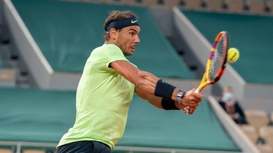 Rafael Nadal (ESP) in action during his match.(USA TODAY Sports)