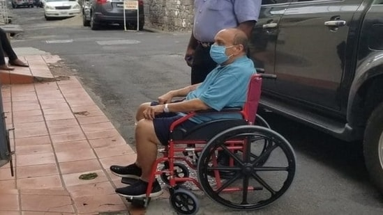 Fugitive businessman Mehul Choksi is seen arriving at a Dominican court on Wednesday in this file photo. (Antigua Newsroom )