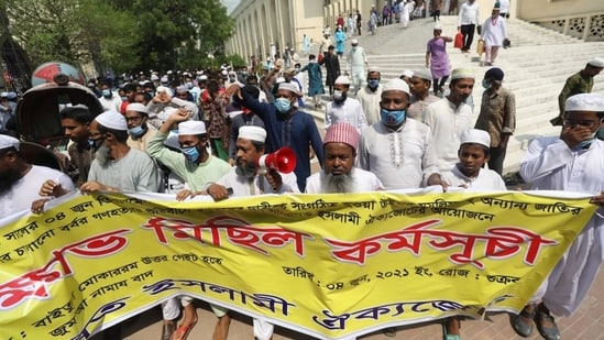 Bangladeshi demonstrators were also seen wearing blue masks to highlight gross human rights violations.