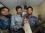 Sachin Tendulkar gifted his own autographed bat to Pranav Dhanawade (right) for his record-breaking innings.(Twitter/BCCI)