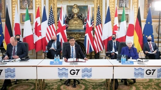 Britain's Chancellor of the Exchequer Rishi Sunak speaks at a meeting of finance ministers from across the G7 nations.(Reuters)