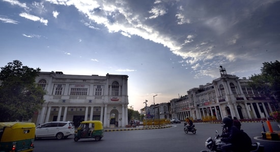 A cloudy sky seen from Connaught Place during a Covid-19 lockdown in New Delhi. (Arvind Yadav/ Hindustan Times)