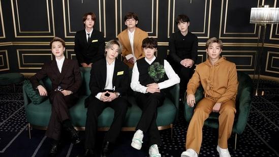 BTS members RM, Jin, Suga, J-Hope, Jimin, V and Jungkook at the Grammys 2021.(Big Hit Entertainment)