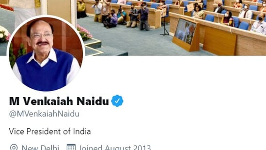 Vice President Naidu's personal Twitter handle with blue tick restored