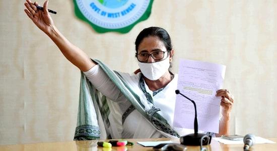 West Bengal chief minister Mamata Banerjee at state secretariat Nabanna, in Kolkata. (File Photo)