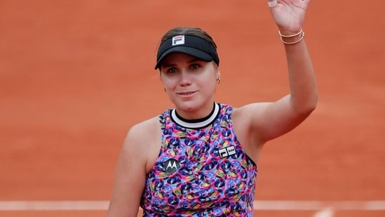 Sofia Kenin gestures after the win. (Reuters)