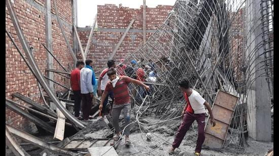 Four labourers were injured after a roof of an illegal under-construction building collapsed in Patiala on June 3. HT file