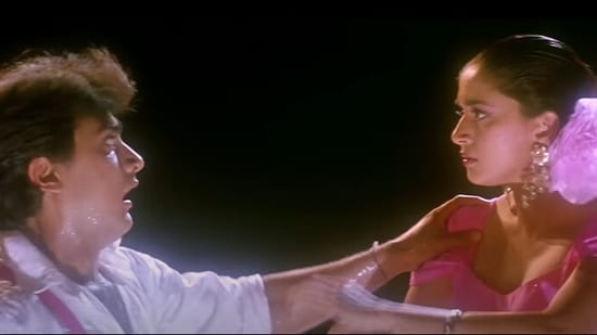 Aamir Khan and Madhuri Dixit from Dil.