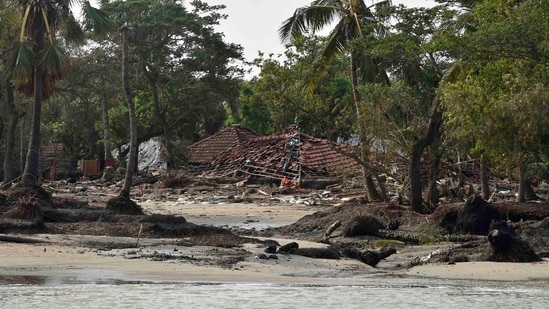 A damaged house in the aftermath of Cyclone Yaas at Ghoramara Island in Sundarban Delta complex of the Bay of Bengal.(PTI)