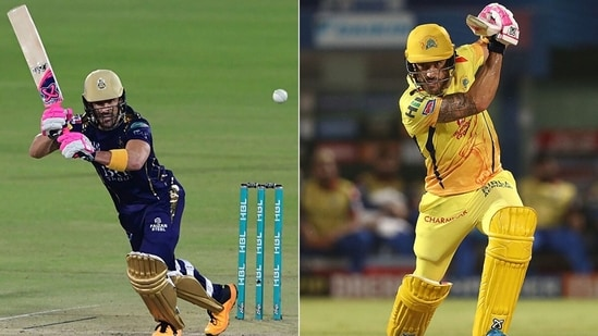 Faf du Plessis in PSL (L) and the IPL (R). (Getty Images)