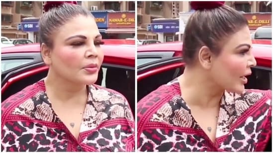 Rakhi Sawant schooled a man for staring at her while she was speaking to the media.