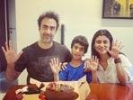 Ex-couple Ranvir Shorey and Konkona Sensharma pose with their son, Haroon.