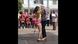 Andreyna Hernandez dances with her partner