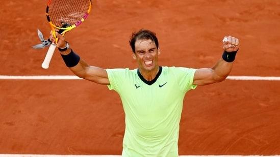 Spain's Rafael Nadal celebrates winning his fourth-round match against Italy's Jannik Sinner(REUTERS)