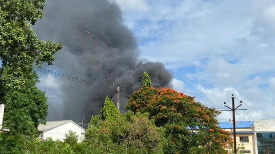 A major fire broke out at SVS Aqua company that produces chlorine dioxide tab for water purification in Urawade villlage near Pirangut in Taluka Mulshi in Pune. (Hindustan Times)