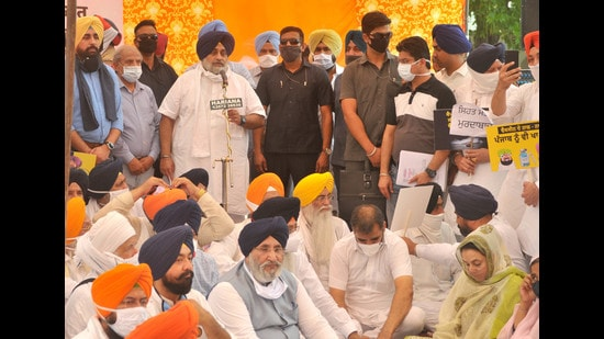 SAD chief Sukhbir Singh Badal and others holding a protest in Mohali on Monday. Ravi Kumar/HindustanTimes