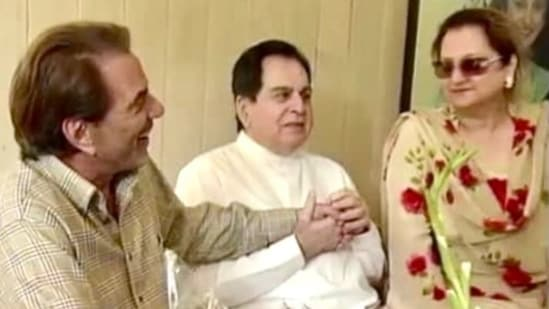 Dharmendra with Dilip Kumar and Saira Banu in this throwback picture.