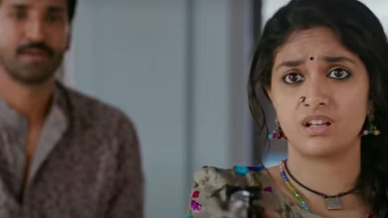 Keerthy Suresh in a still from Good Luck Sakhi.