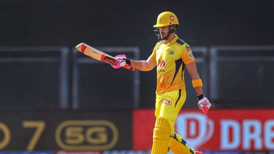 File Photo of Faf du Plessis of Chennai Super Kings celebrates in action during IPL 2021. (PTI)