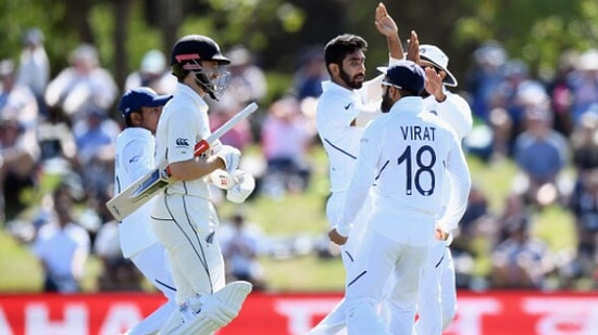 File Photo of Indian team celebrating Kane Williamson's wicket in a Test match.(Getty Images.)