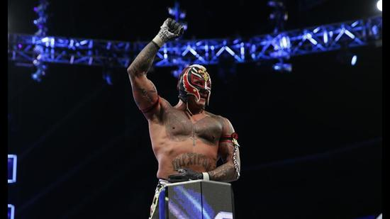 """WWE legend Rey Mysterio says he was probably the first to perform when the pandemic hit, and it was """"awkward"""" to not have fans around."""