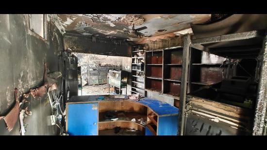 The ravaged Gold Pet Shop in Zirakpur, Punjab, on Monday. (HT Photo)