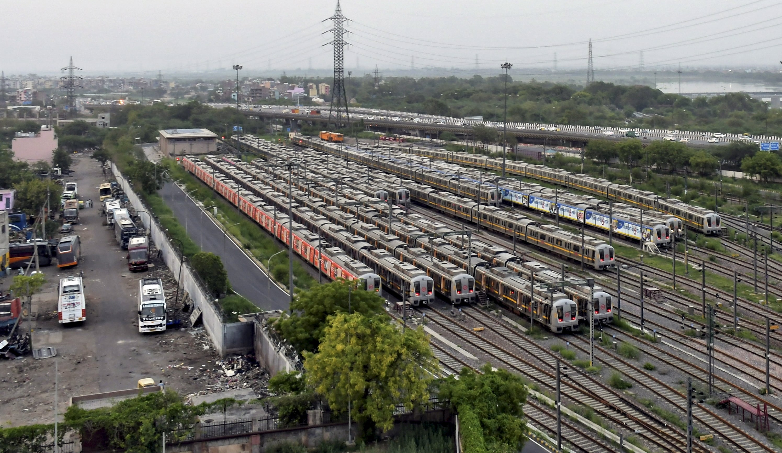 Metro trains parked at Timarpur Depot ahead of the lifting of Covid-induced restrictions, in New Delhi, on Sunday, June 6, 2021. (PTI)