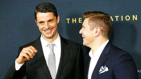Actors Matthew Goode and Allen Leech pose together.( Reuters)