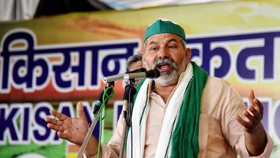 BKU leader Rakesh Tikait addresses the farmers during a protest at Delhi-Ghazipur Border in New Delhi.(ANI File Photo)