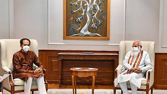 Prime Minister Narendra Modi at a meeting with Maharashtra chief minister Uddhav Thackeray in New Delhi, Deputy chief minister Ajit Pawar and cabinet minister Ashok Chavan were also present at this meeting(PTI)
