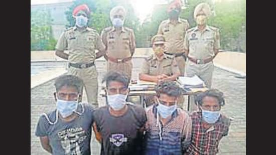The accused in custody of Basti Jodhewal police in Ludhiana on Tuesday. (HT Photo)