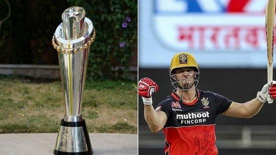Photos of PSL Trophy (L) and RCB's South African batsman AB de Villiers(HT Collage)