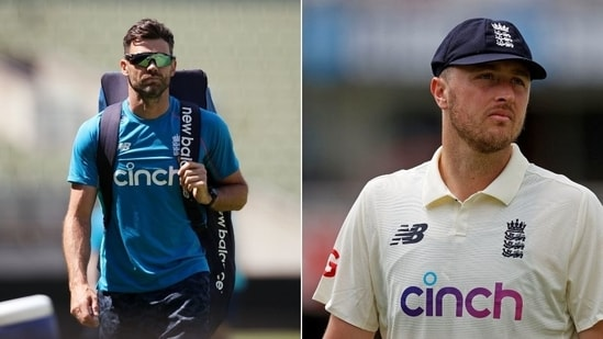 England pacers James Anderson (L) and Ollie Robinson (R)(HT Collage)