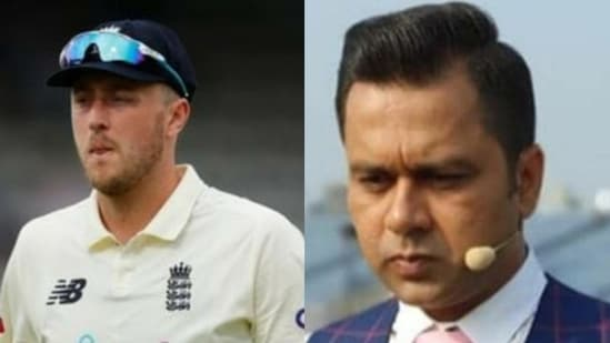 England pacer Ollie Robinson (left) and file photo of Aakash Chopra.(HT Collage)