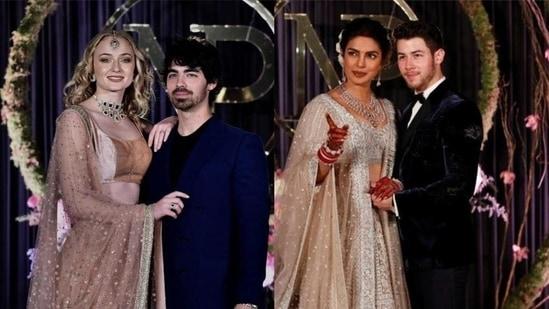 Joe Jonas and Sophie Turner at Priyanka Chopra and Nick Jonas's wedding reception in Delhi.(AP/PTI)