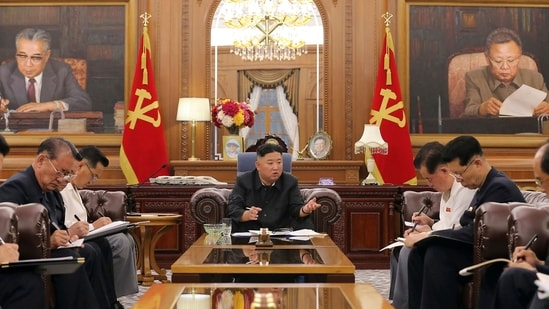 North Korean leader Kim Jong Un, center, attends a meeting with senior ruling party officials in Pyongyang, Monday, June 7, 2021. (AP)
