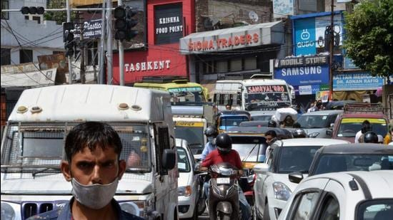 Traffic jam on a road as business establishments open across Jammu during unlocking in Jammu on Tuesday (ANI)