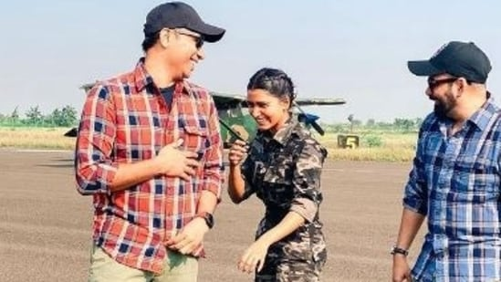 Samantha Akkineni with Raj and DK on the sets of The Family Man.