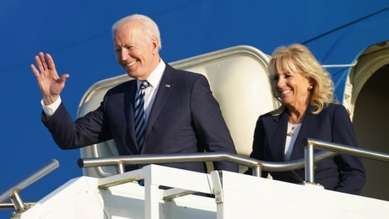 Biden, who is due to arrive in Britain on Wednesday at the start of his first trip abroad as president, has said he would press Putin to respect human rights. In picture - Joe Biden and first lady Jill Biden disembark from Air Force One as they arrive at RAF Mildenhall ahead of the G7 Summit in Britain.(Reuters)
