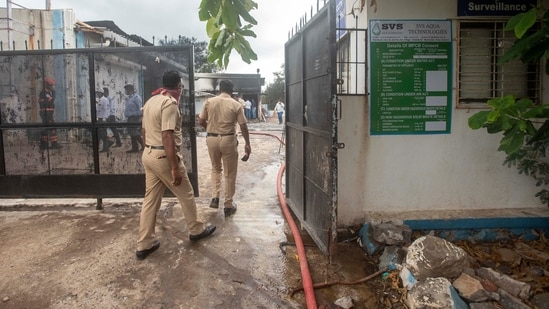 Nikunj Shah is charged with culpable homicide not amounting to murder, after 17 SVS Aqua Tech workers perished in a fire on the company premises on Monday.(HT Photo)