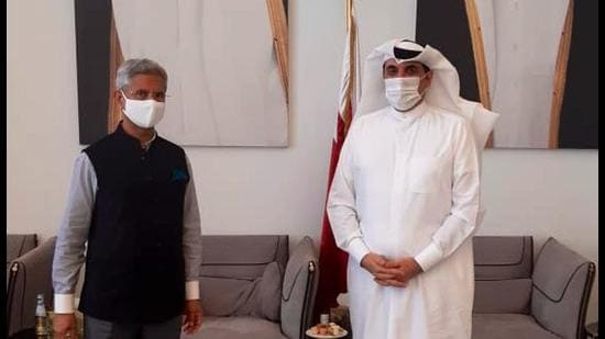 Foreign minister S Jaishankar, who was on his way to Kuwait, made a stopover in Doha, where he met Qatari National Security Adviser (NSA) Mohamed Bin Ahmed Al Mesned (Twitter/S Jaishankar)