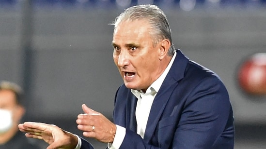Brazil's coach Tite gestures during the South American qualification football match against Paraguay for the FIFA World Cup Qatar 2022. (AFP)