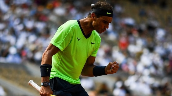 Spain's Rafael Nadal reacts as he plays against Argentina's Diego Schwartzman during their men's singles quarter-final tennis matcH.(AFP)