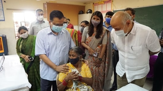 The Delhi chief minister visited a Covid-19 vaccination center on this day and remarked that people were very happy about the fact that they can now get a vaccine dose near their residences, where they cast their vote. (Photo via @ArvindKejriwal on Twitter)